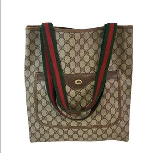 Authentic GUCCI tote coated monogram canvas